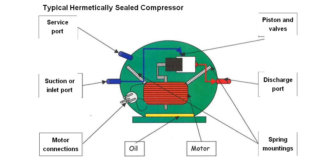 Typical Hermetically Sealed Compressor